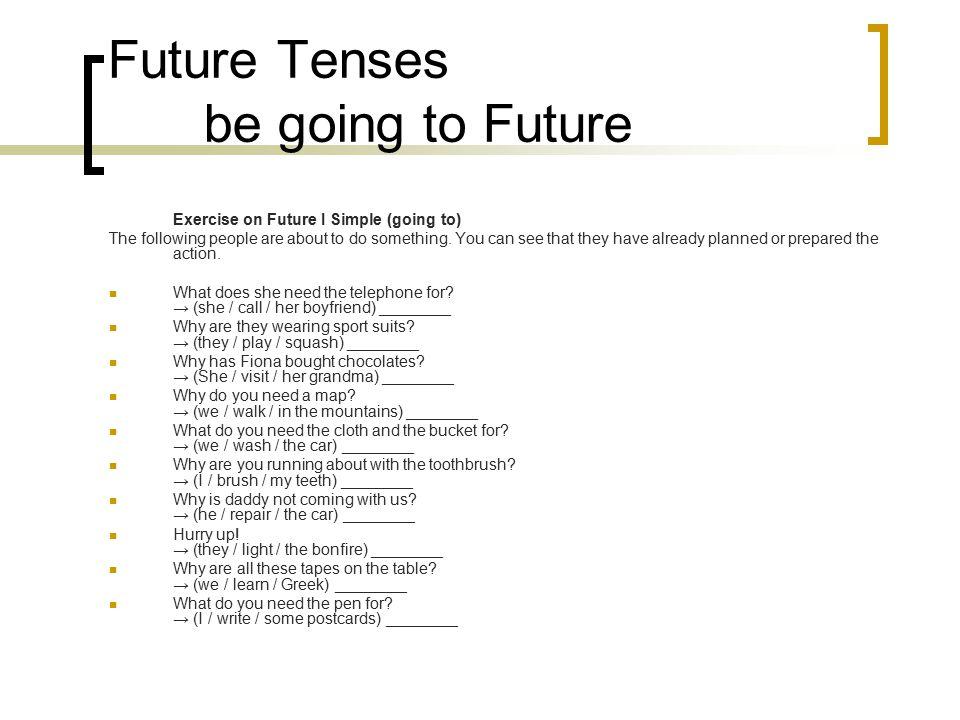 Future Tenses be going to Future