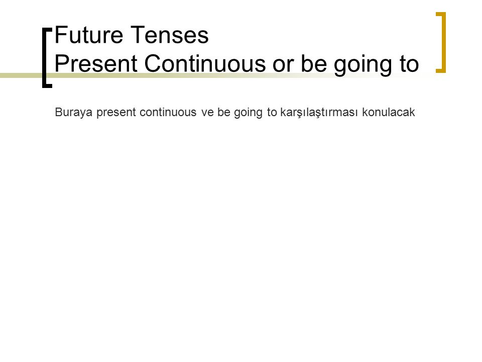 Future Tenses Present Continuous or be going to