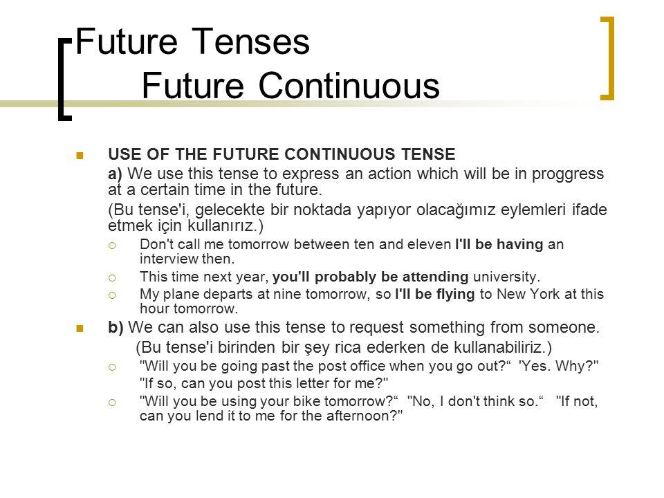 Future Tenses Future Continuous