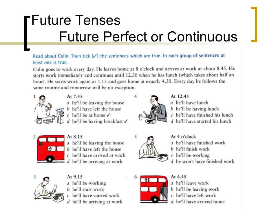 Future Tenses Future Perfect or Continuous