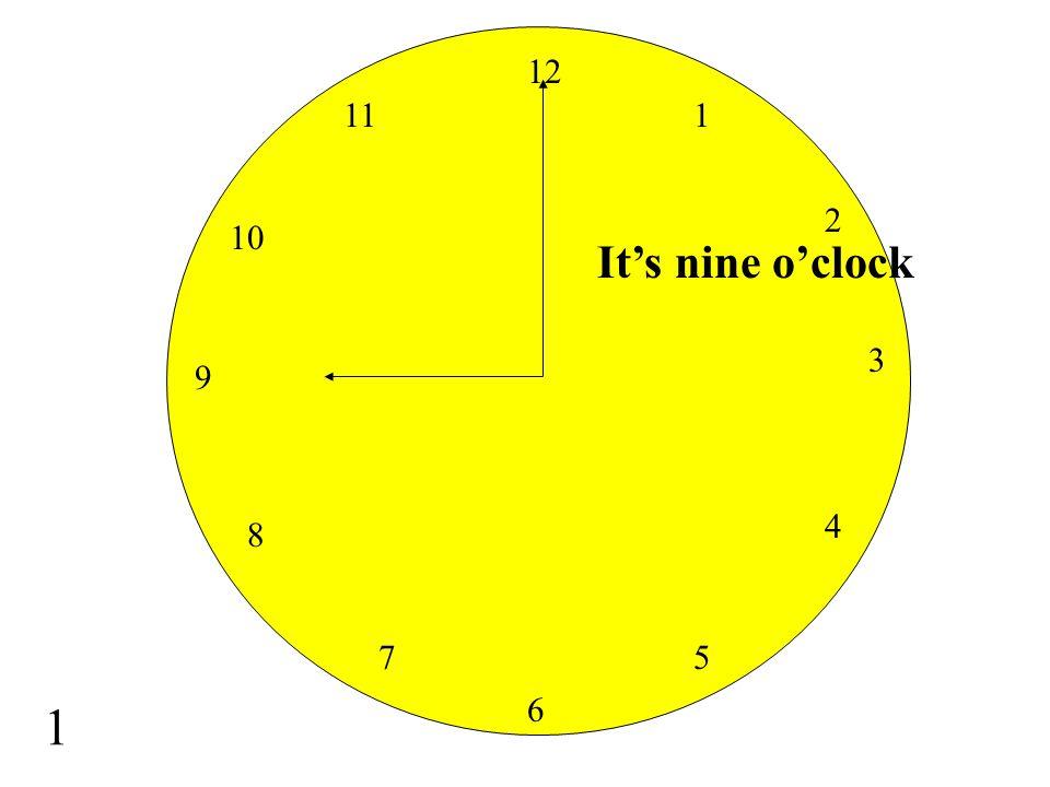 12 11 1 2 10 It's nine o'clock 3 9 4 8 7 5 1 6