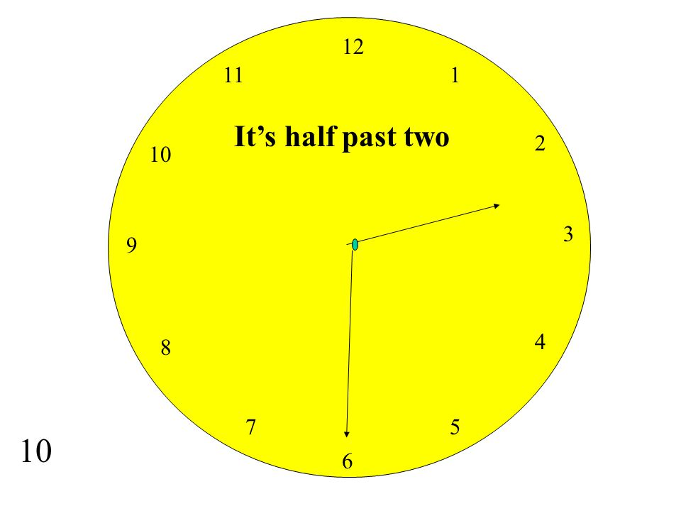 12 11 1 It's half past two 2 10 3 9 4 8 7 5 10 6