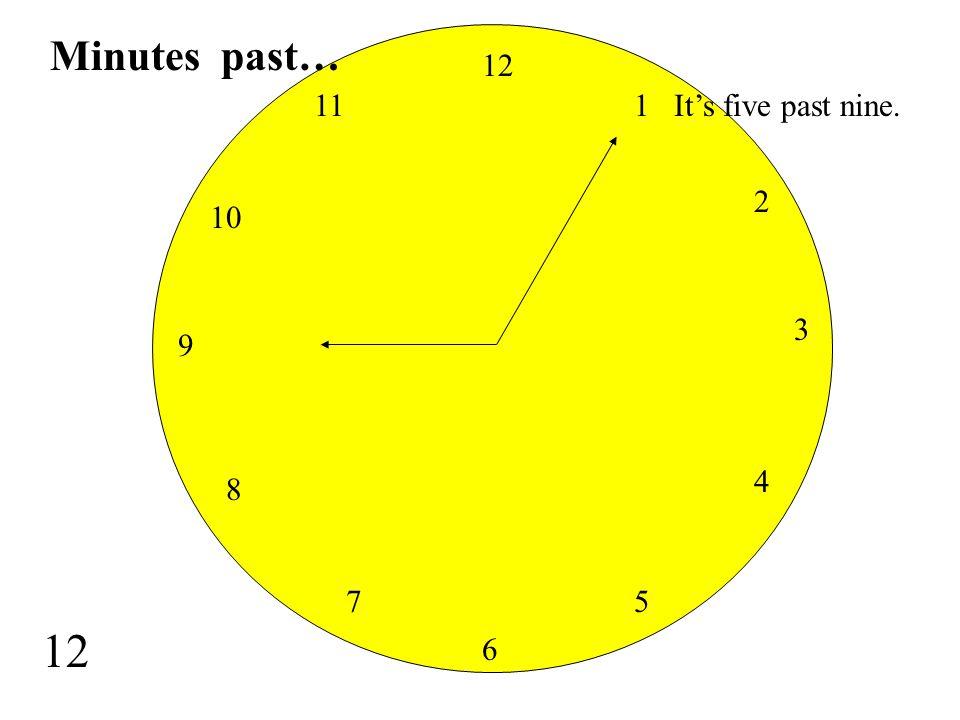 Minutes past… 12 11 1 It's five past nine. 2 10 3 9 4 8 7 5 12 6