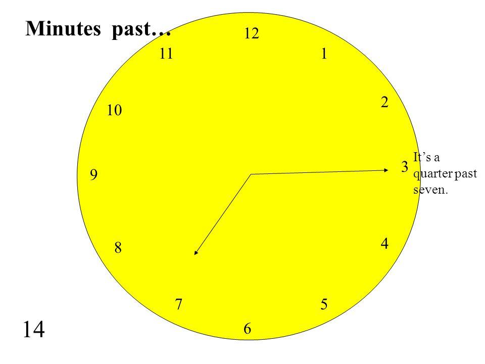 Minutes past… 12 11 1 2 10 It's a quarter past seven. 3 9 4 8 7 5 14 6