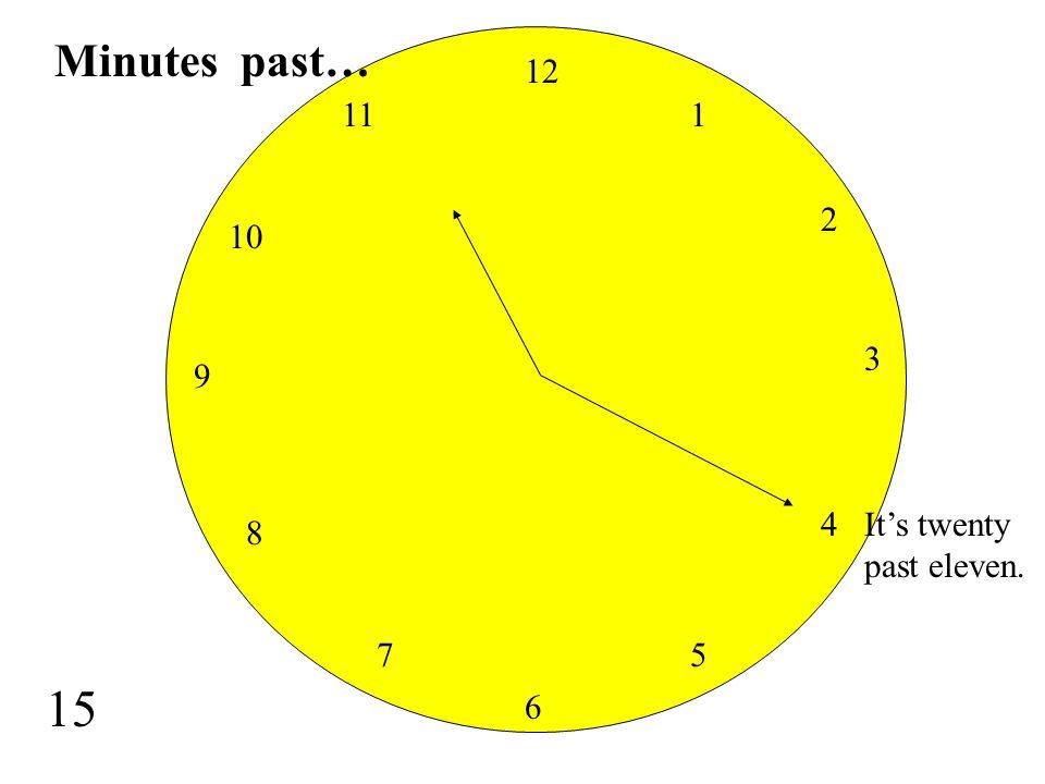 Minutes past… 12 11 1 2 10 3 9 4 It's twenty past eleven. 8 7 5 15 6
