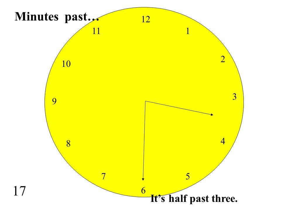 Minutes past… 12 11 1 2 10 3 9 4 8 7 5 17 6 It's half past three.