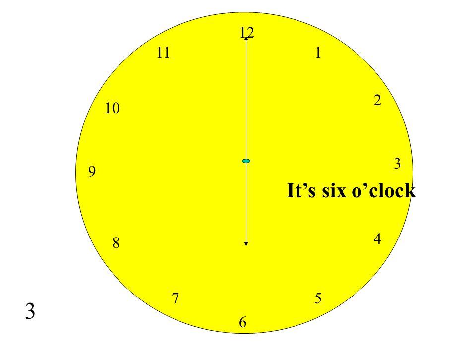 12 11 1 2 10 3 9 It's six o'clock 4 8 7 5 3 6