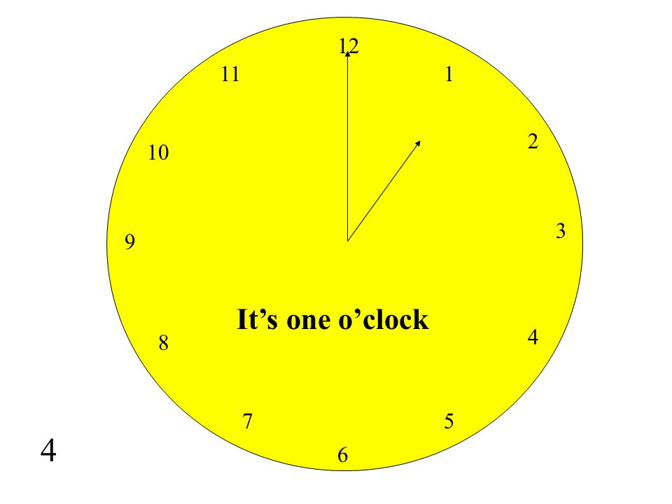 12 11 1 2 10 3 9 It's one o'clock 4 8 7 5 4 6