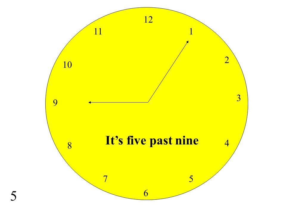 12 11 1 2 10 3 9 It's five past nine 4 8 7 5 5 6