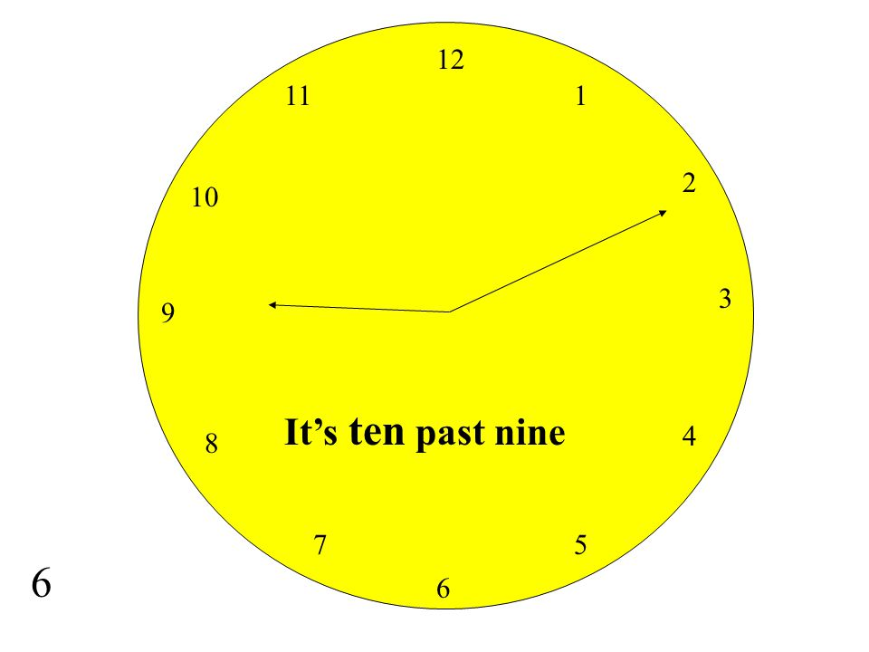 12 11 1 2 10 3 9 It's ten past nine 4 8 7 5 6 6