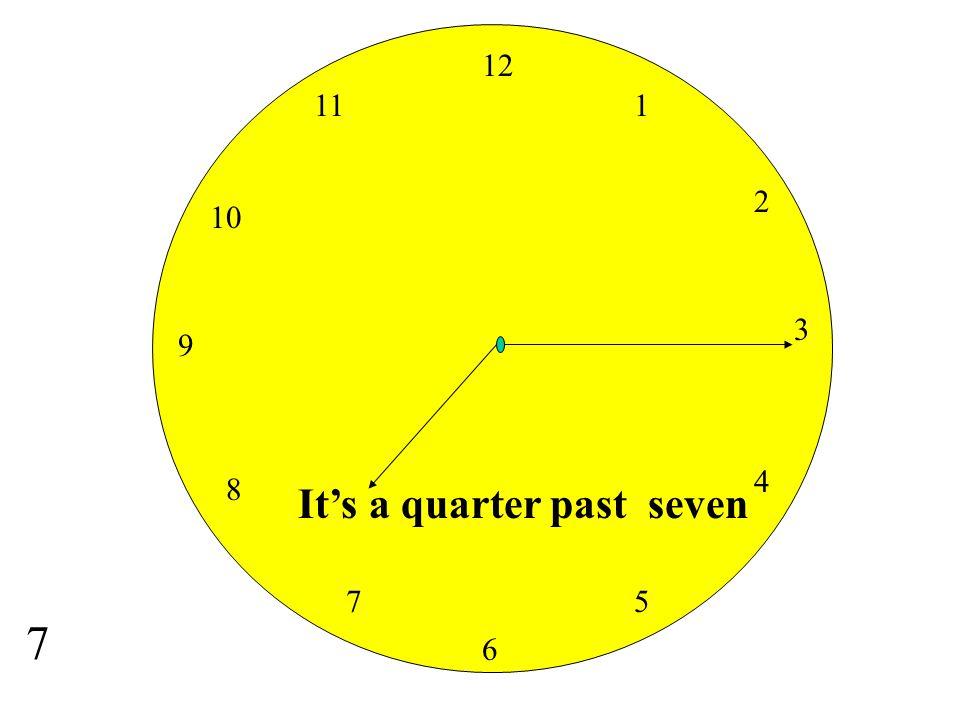 12 11 1 2 10 3 9 4 8 It's a quarter past seven 7 5 7 6