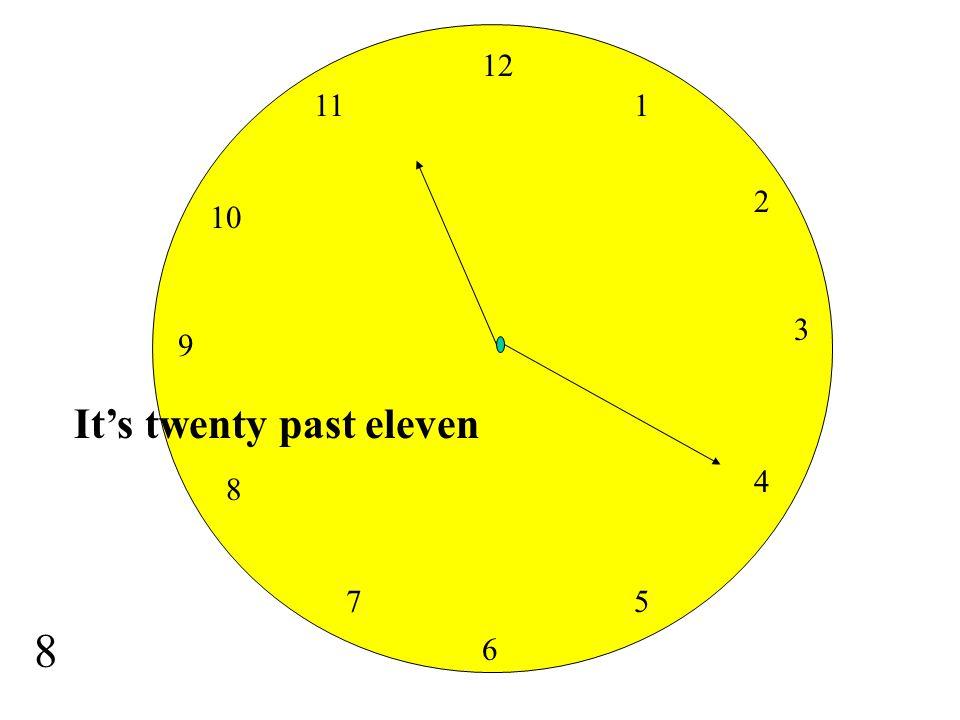 12 11 1 2 10 3 9 It's twenty past eleven 4 8 7 5 8 6