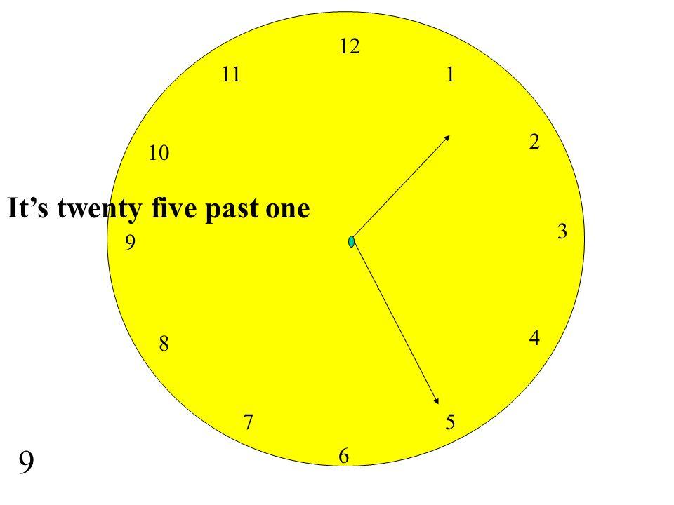 12 11 1 2 10 It's twenty five past one 3 9 4 8 7 5 9 6