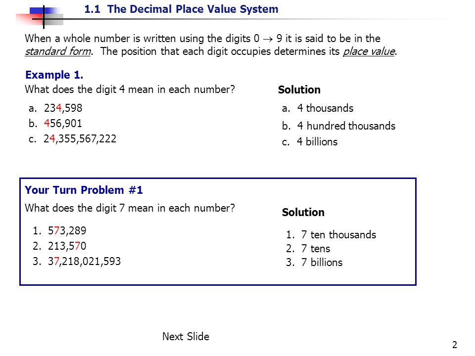 Place Value A Digit Is A Number 0 1 2 3 4 5 6 7 8 Or 9 That