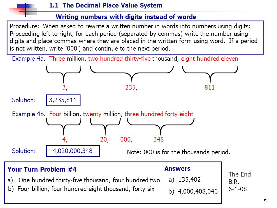 Example 4a. Three million, two hundred thirty-five thousand, eight hundred eleven