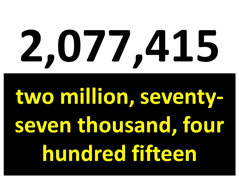 two million, seventy-seven thousand, four hundred fifteen