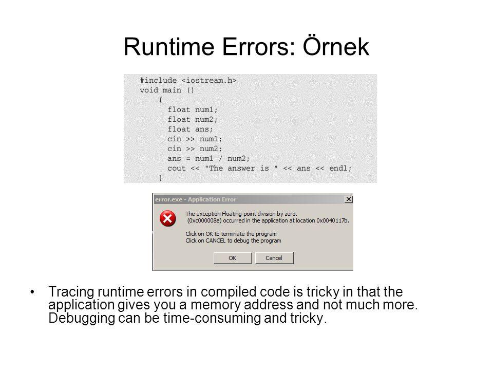 Runtime Errors: Örnek