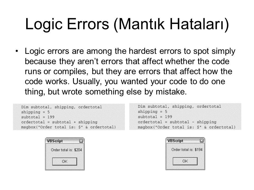 Logic Errors (Mantık Hataları)