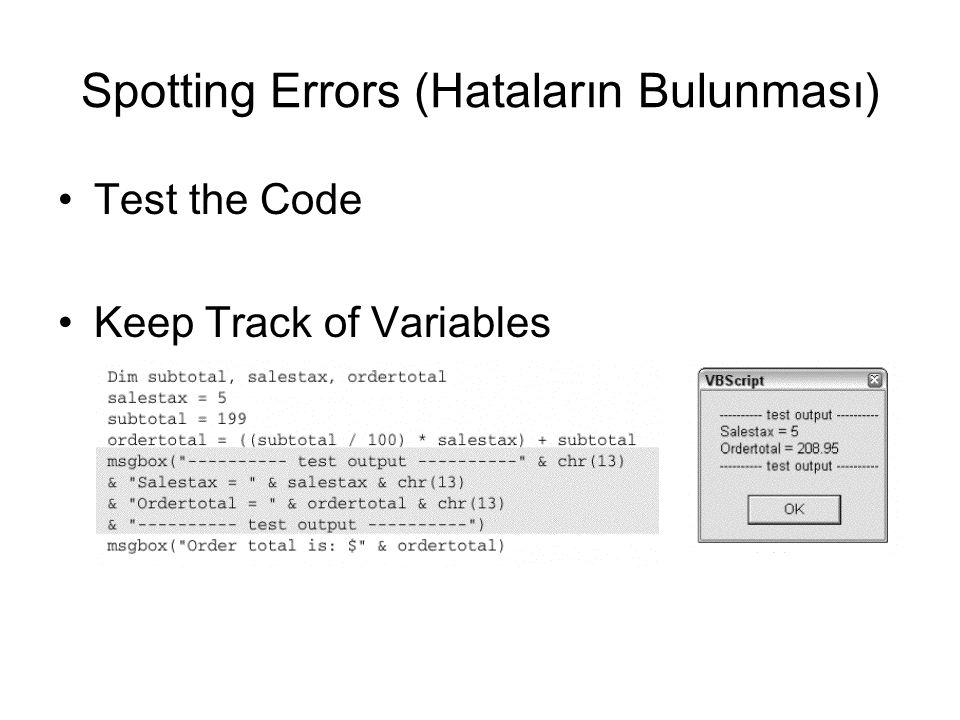 Spotting Errors (Hataların Bulunması)