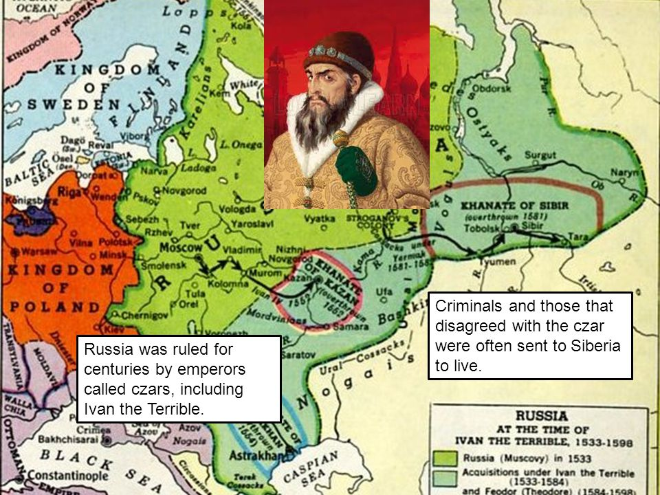 Criminals and those that disagreed with the czar were often sent to Siberia to live.