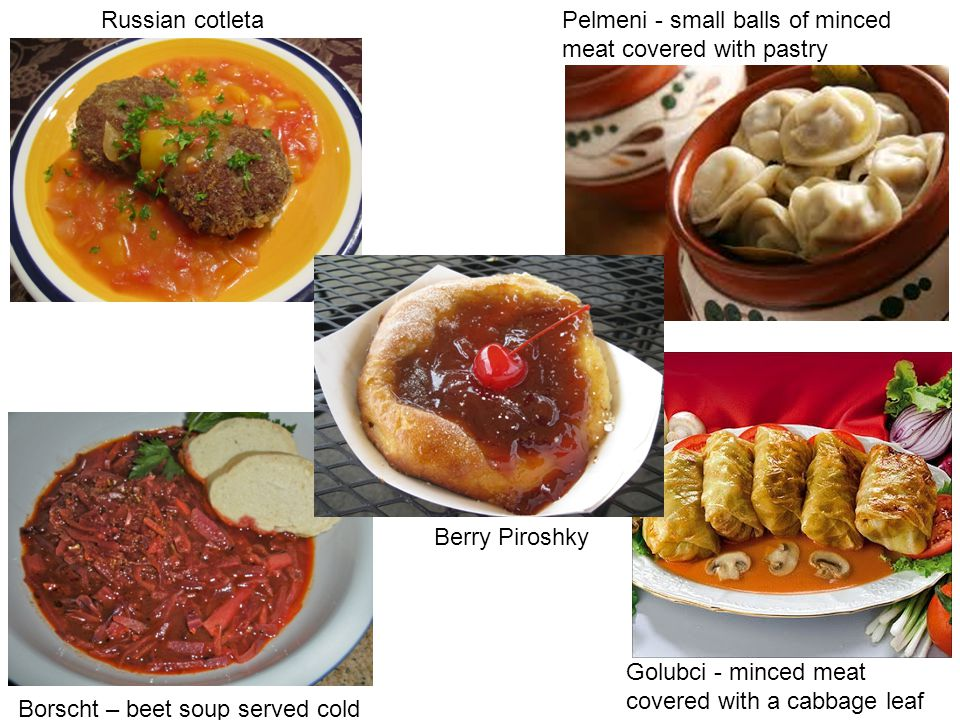 Russian cotleta Pelmeni - small balls of minced meat covered with pastry. Berry Piroshky. Golubci - minced meat covered with a cabbage leaf