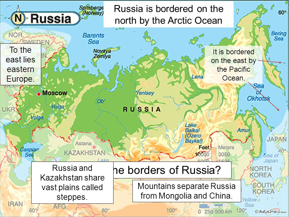Where are the borders of Russia
