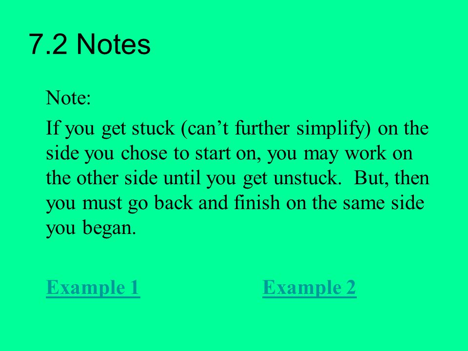 7.2 Notes Note: