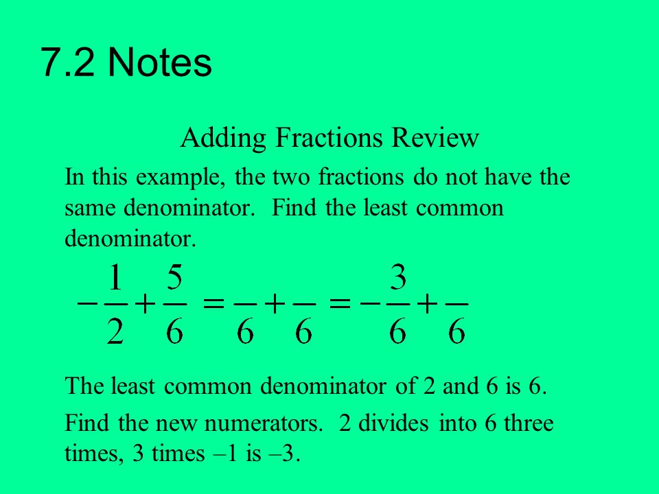 Adding Fractions Review