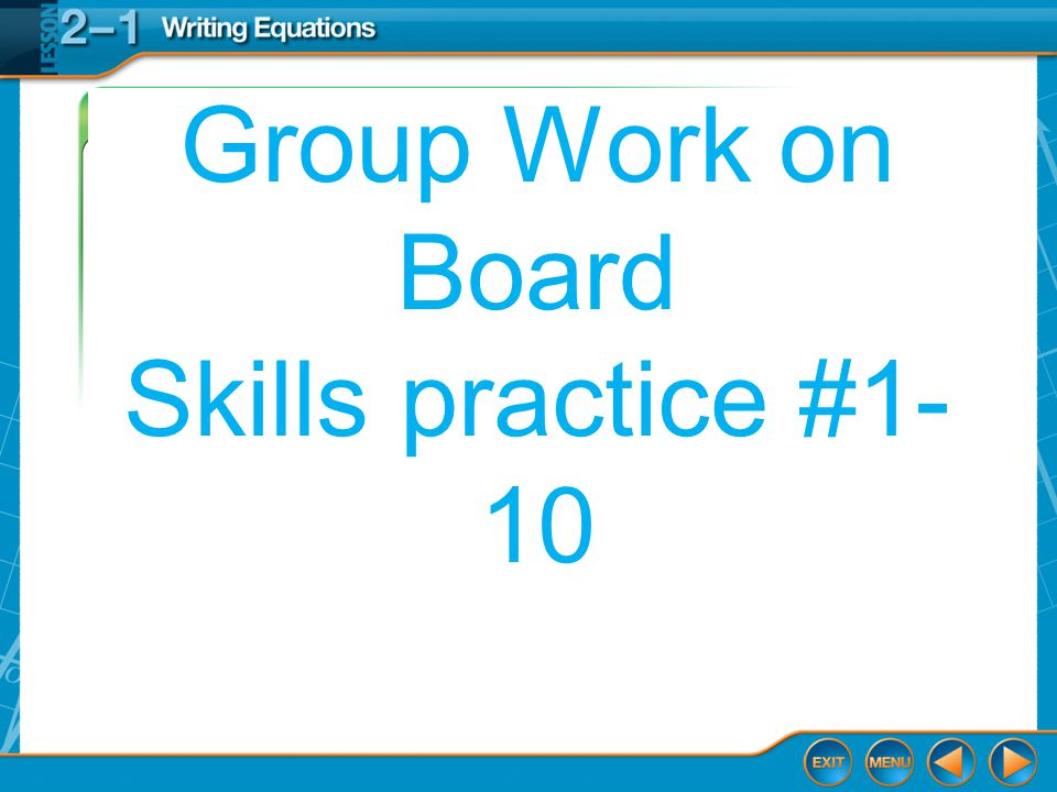 Group Work on Board Skills practice #1-10