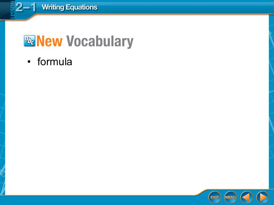 formula Vocabulary