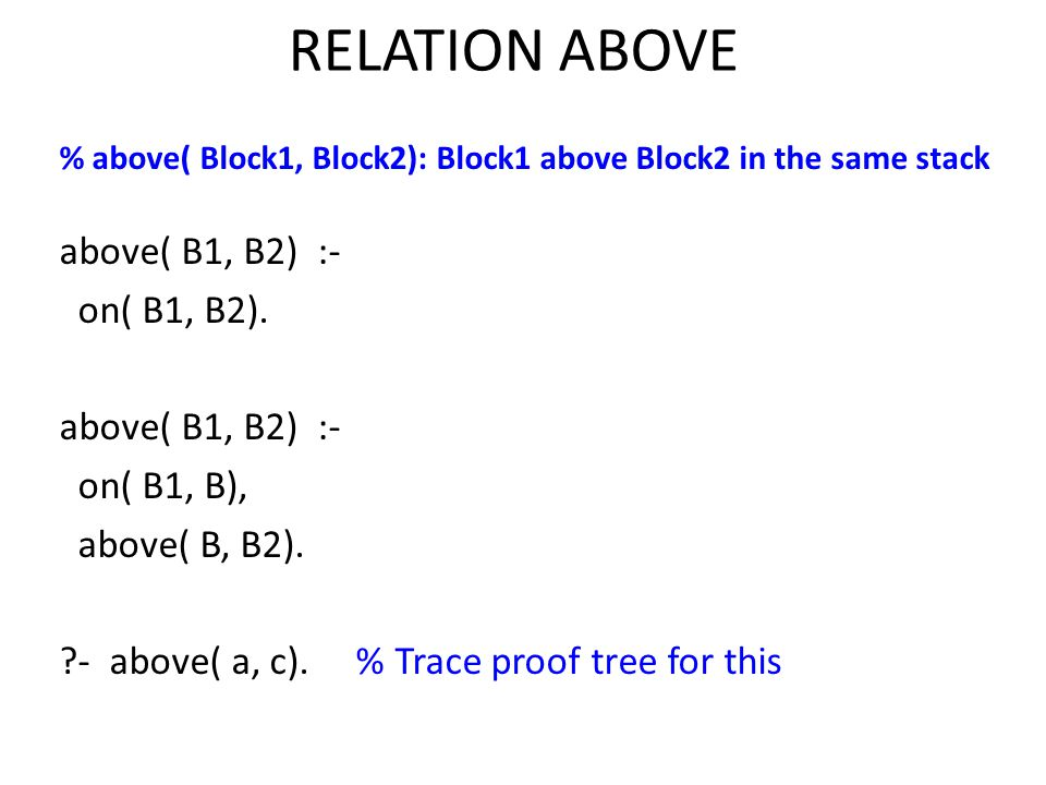 RELATION ABOVE above( B1, B2) :- on( B1, B2). on( B1, B),