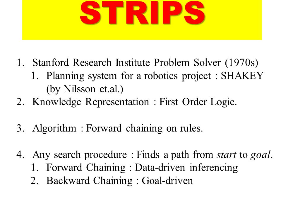 STRIPS Stanford Research Institute Problem Solver (1970s)