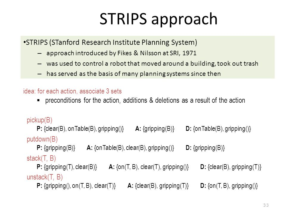 STRIPS approach STRIPS (STanford Research Institute Planning System)