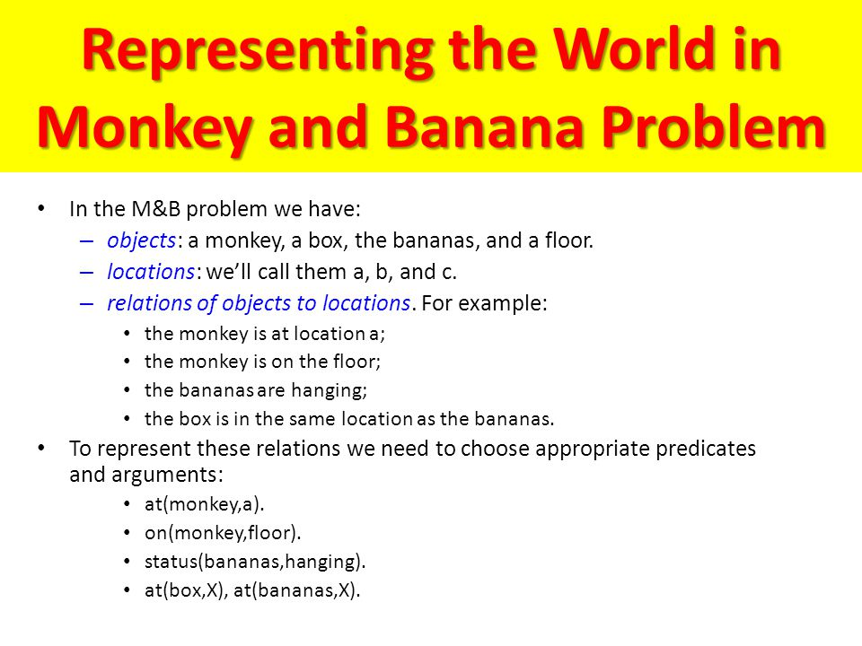 Representing the World in Monkey and Banana Problem
