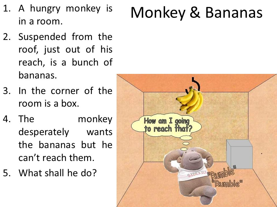 Monkey & Bananas A hungry monkey is in a room.