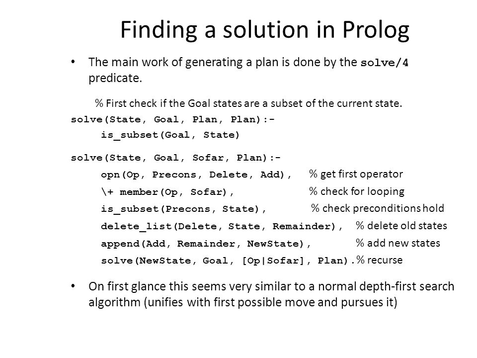 Finding a solution in Prolog