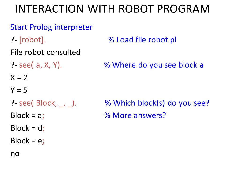 INTERACTION WITH ROBOT PROGRAM