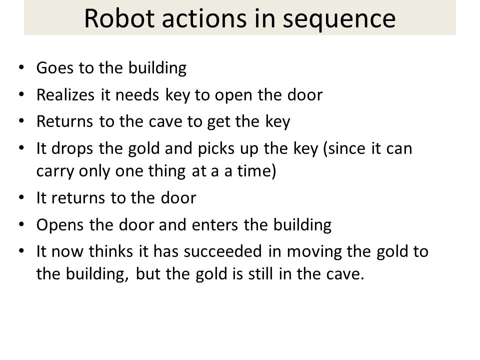Robot actions in sequence