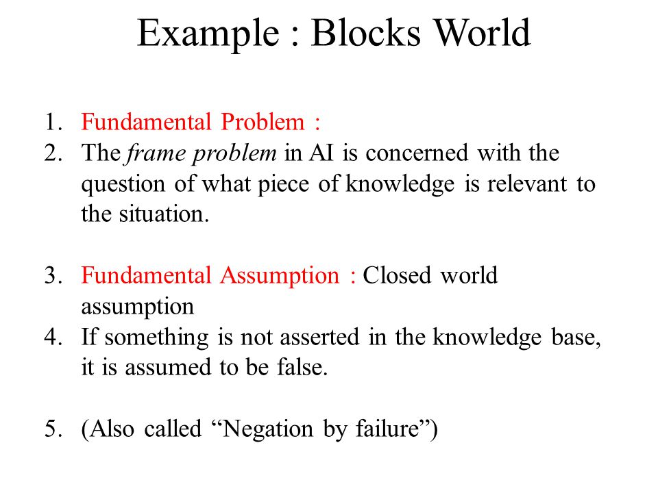 Example : Blocks World Fundamental Problem :
