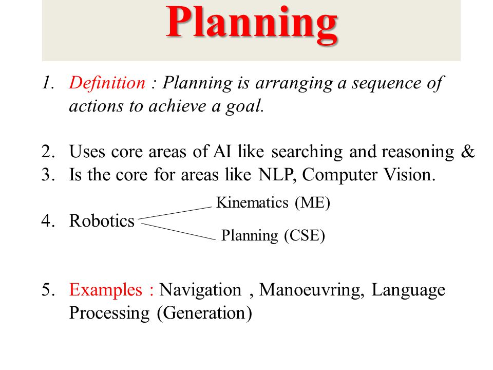 Planning Definition : Planning is arranging a sequence of actions to achieve a goal. Uses core areas of AI like searching and reasoning &