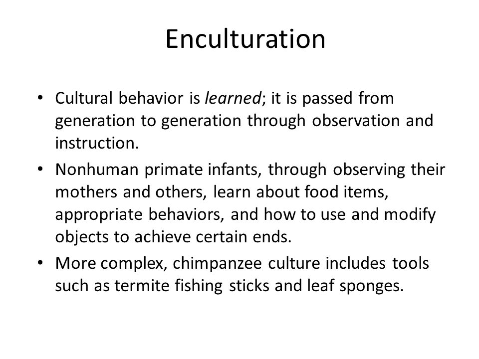 Enculturation Cultural behavior is learned; it is passed from generation to generation through observation and instruction.