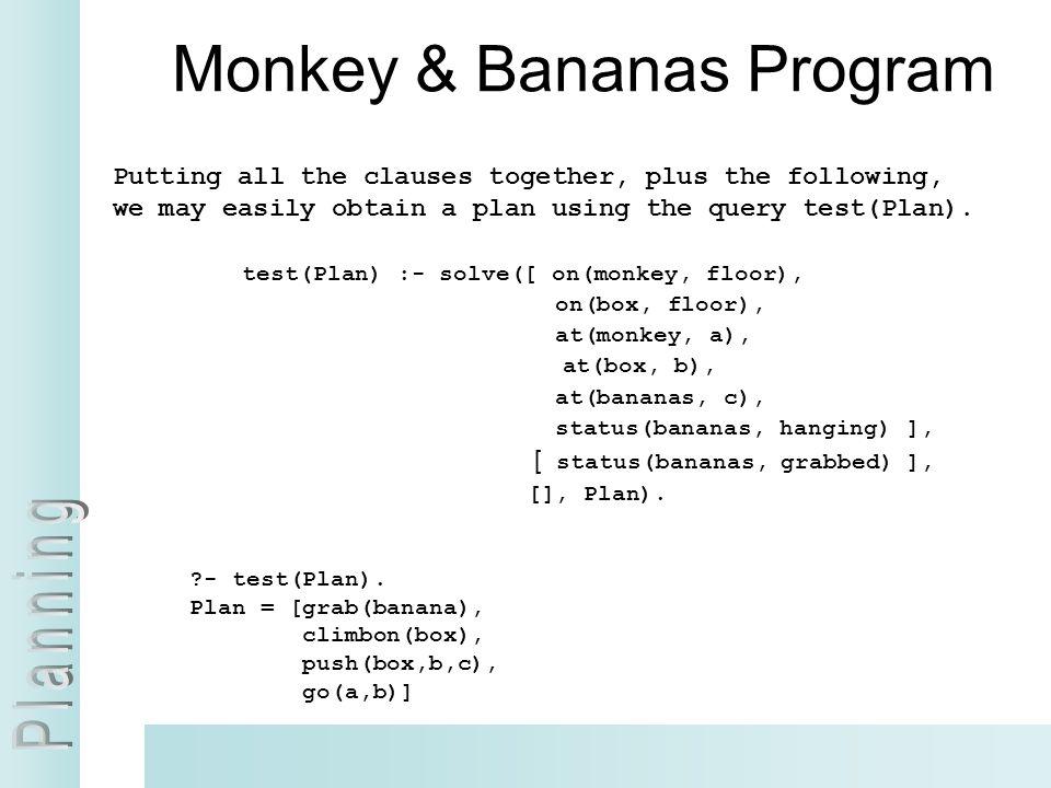 Monkey & Bananas Program
