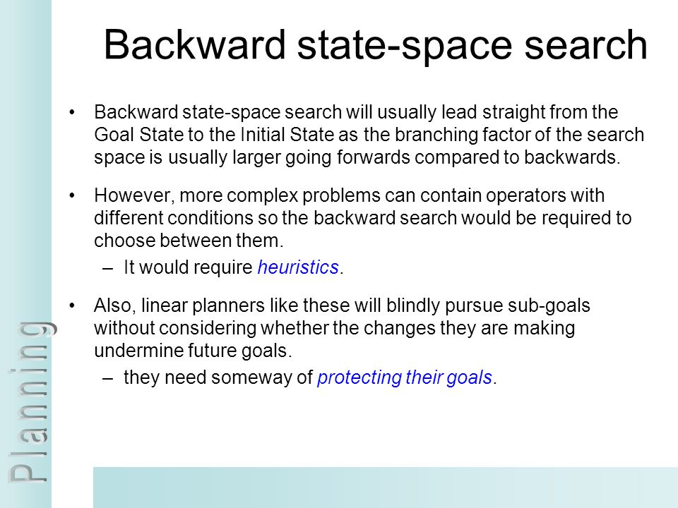 Backward state-space search