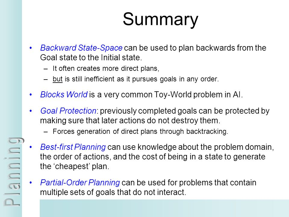 Summary Backward State-Space can be used to plan backwards from the Goal state to the Initial state.