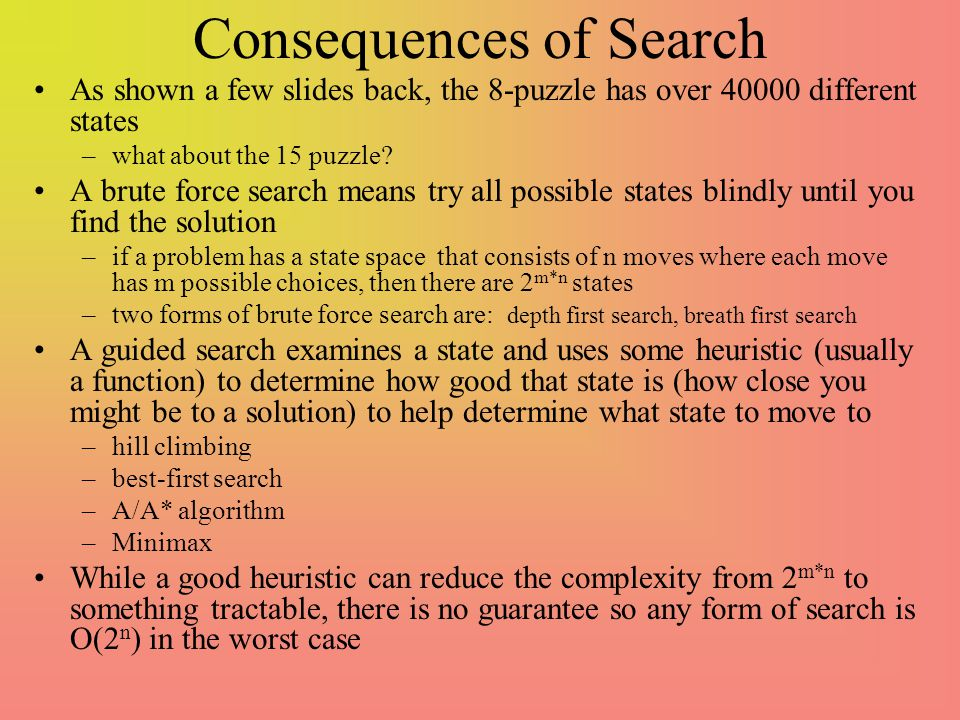 Consequences of Search