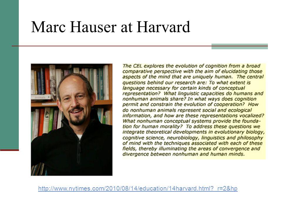 Marc Hauser at Harvard http://www.nytimes.com/2010/08/14/education/14harvard.html _r=2&hp