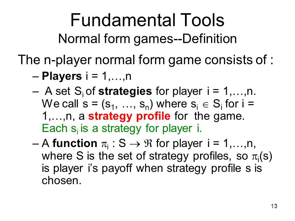 Fundamental Tools Normal form games--Definition