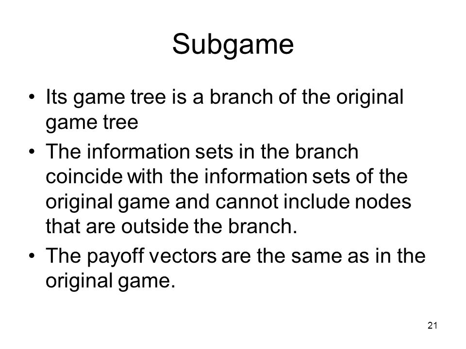 Subgame Its game tree is a branch of the original game tree