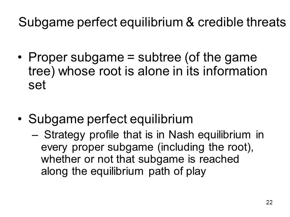 Subgame perfect equilibrium & credible threats