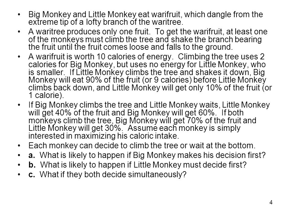 Big Monkey and Little Monkey eat warifruit, which dangle from the extreme tip of a lofty branch of the waritree.